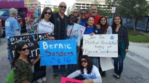 Sinitch and other enthusiasts encourage voters to vote for Sanders.