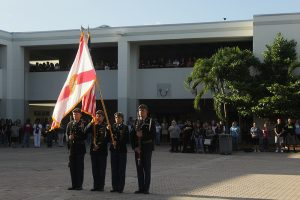 MSD JROTC parades the state and national flags.