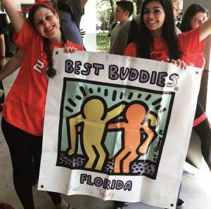Club members Ellie Warmund and Varsha Geer promote Best Buddies. Photo courtesy of @MSDBestBuddies