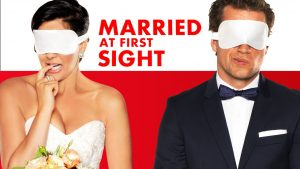 Promo poster for Married at First Sight. The show is aired on FYI.