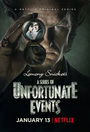 """A Series of Unfortunate Events"" advertisement for the highly anticipated Netflix release. The poster features Count Olaf along with the Baudelaire children."