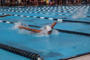 Junior Trevor Berkson swims the 100 meter butterfly. Photo by Christy Ma