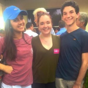 Members of the MSD politics club show their support for Clinton at one of her rallies.