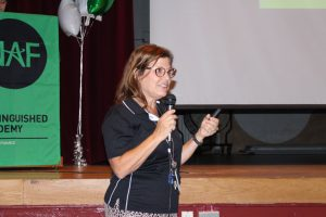 DECA advisor Sharon Cutler speaks about the importance of NAF at the Open House on September 19, 2017. Photo by Rachel Catania.