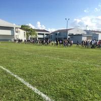 Students evacuating the school building.