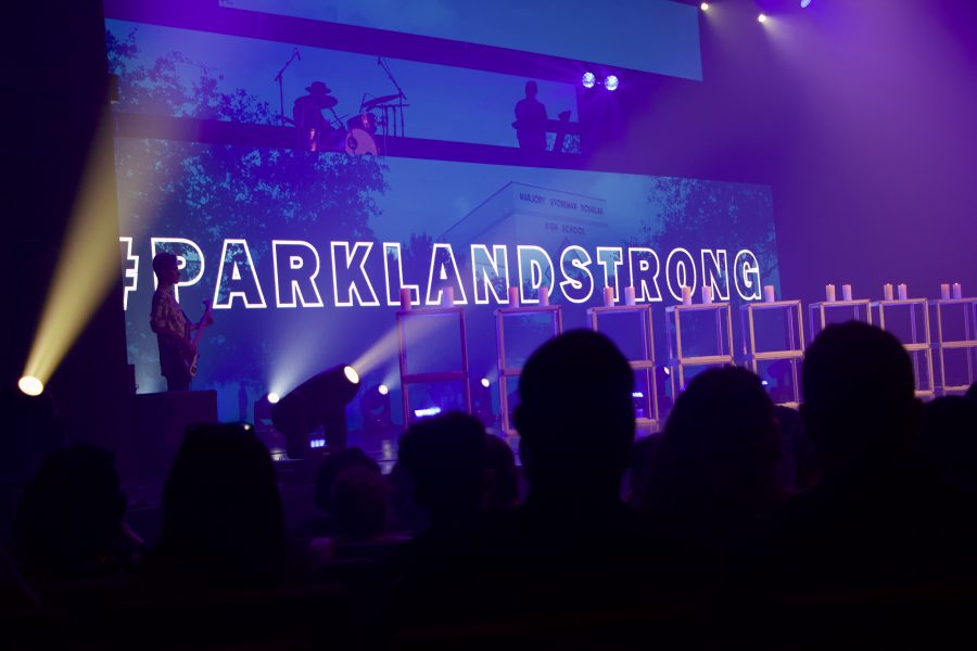 Church+By+the+Glades+prepares+a+background+with+%23ParklandStrong+after+the+massacre+on+Feb.+14.+Photo+by+Christy+Ma
