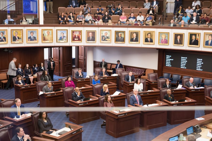 The Florida House of Representatives convenes in the Chamber in the Florida Capitol Building in Tallahassee as MSD students watch from the balcony. Photo by Kevin Trejos