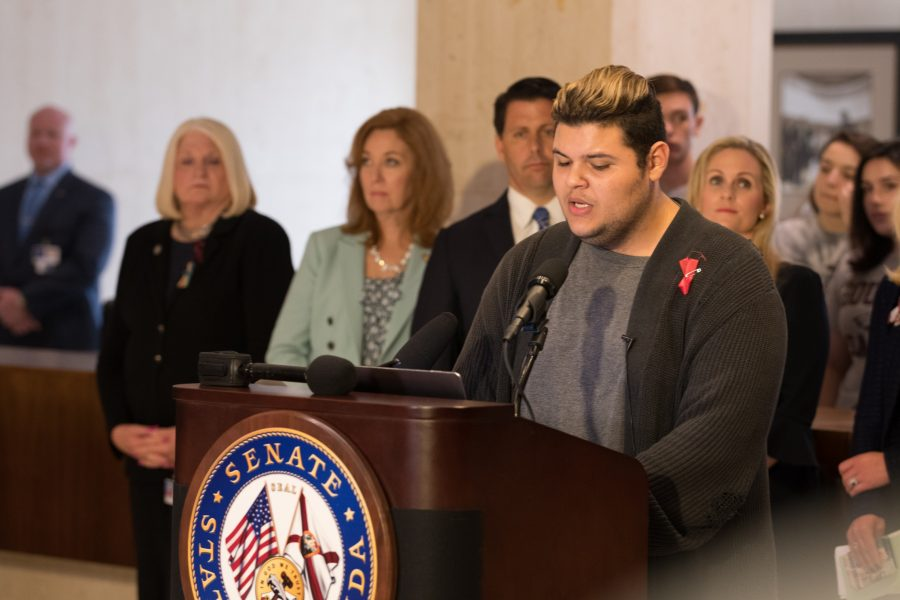 Senior Demitri Hoth speaks at the press conference in Tallahassee. Photo by Kevin Trejos