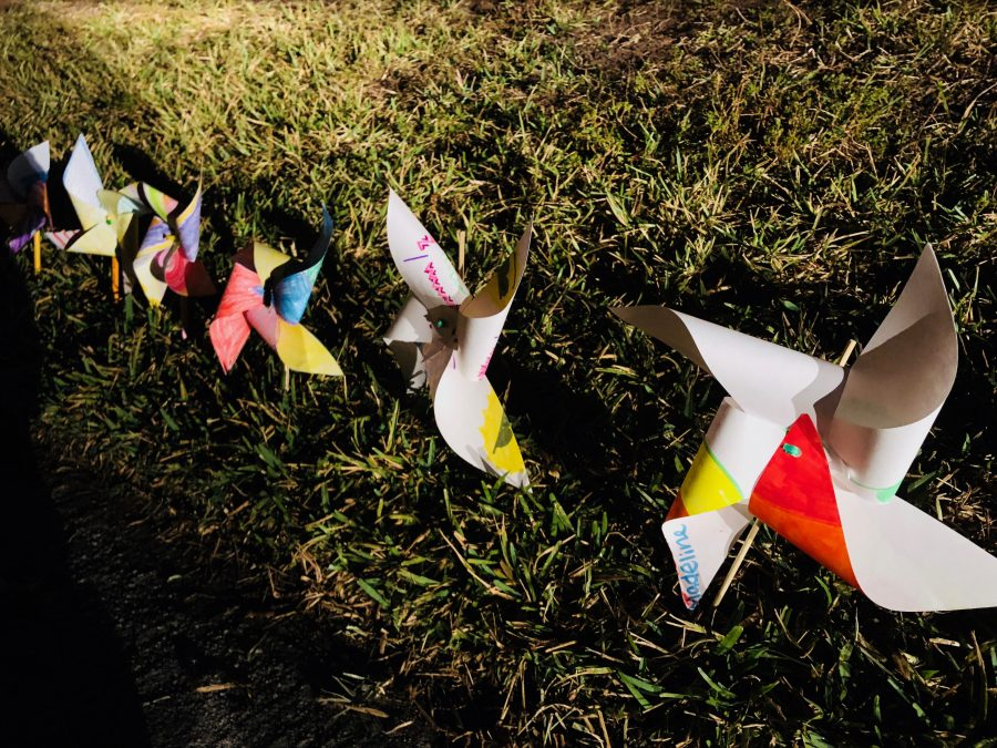 Pinwheels created by elementary school students from Georgia decorate the perimeter of the school. Photo by Nikhita Nookala