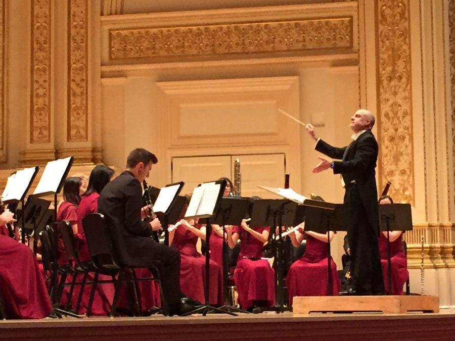 The MSD wind symphony performs at Carnegie Hall. Courtesy of Cameron Leonardi