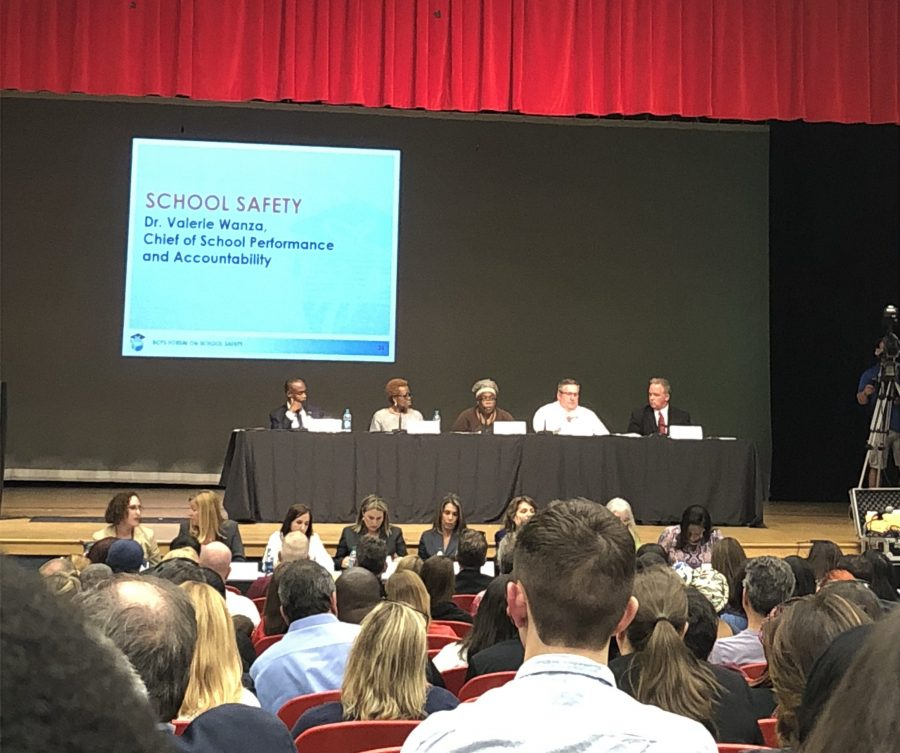 Leaders answer questions and discuss school safety. Photo by Dara Rosen