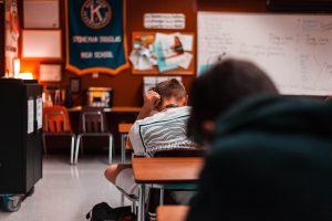 Junior Konstantin Trofimov sits in his English III class. Photo By Darian Williams