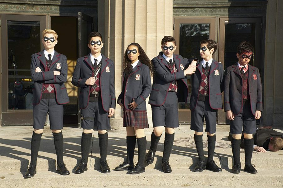 Dante Albidone, Aidan Gallagher, Cameron Brodeur, Eden Cupid, Ethan Hwang, and Blake Talabis in The Umbrella Academy (Christos Kalohoridis/Netflix/TNS)