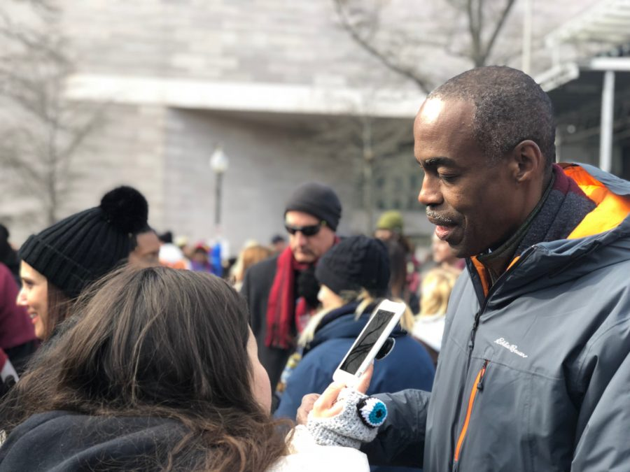 The Eagle Eye interviews Superintendent Runcie at the March for our Lives in Washington D.C. Photo by Emma Dowd