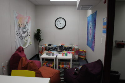 New seating area is filled with color and comfort with coloring utensils for students to express their creativity with. Photo by Einav Cohen