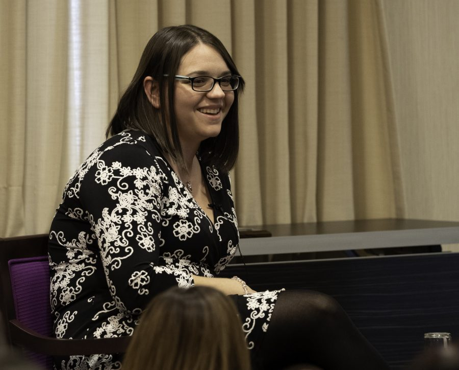 Newspaper adviser Melissa Falkowski speaks to advisers at a luncheon at CSPA at Columbia University on Thursday March, 21. Photo courtesy of Mark Murray