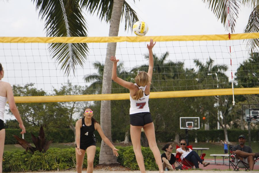 You+Just+Got+Served.+The+Lady+Eagles+beach+volleyball+team+participated+in+a+scrimmage+on+Tuesday%2C+Mar.+12.+Photo+by+Kacie+Shatzkamer