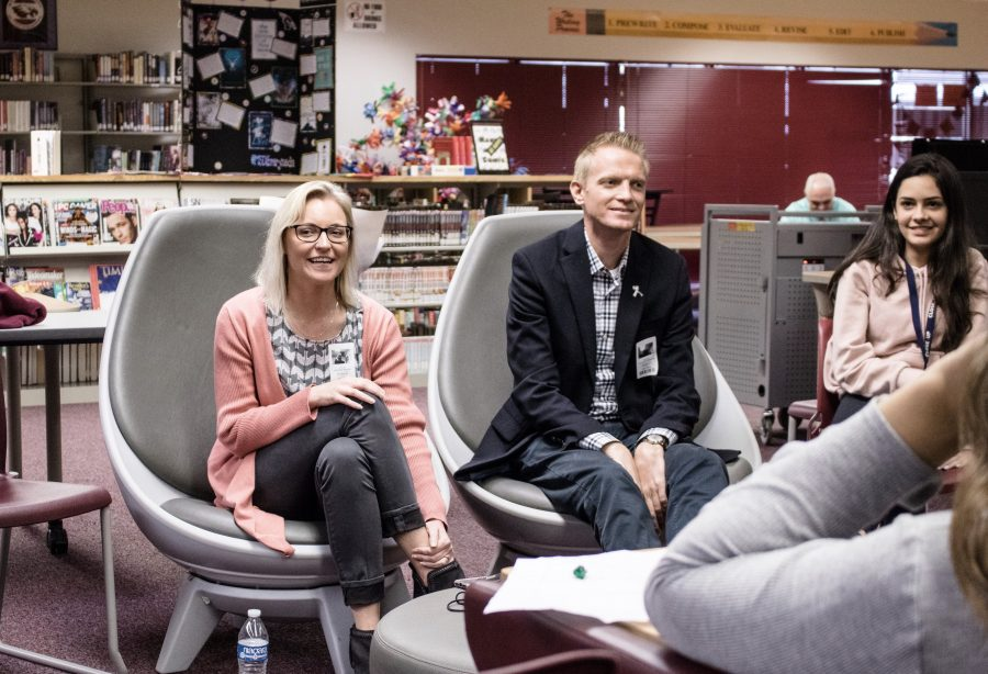 Columbine shooting survivors, Heather Martin and Jonathan McMaster visit Marjory Stoneman Douglas High School to speak with fellow survivors. Photo by Augustus Griffith