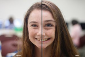 Senior Samantha Goldblum uses Photoshop to extenuate her feature's in a photo. Photo illustration by Darion Willams.