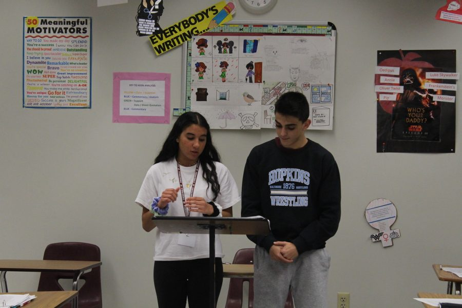 Michelle Daon's English 4 and English 4 honors classes participate in mock trial based on literature