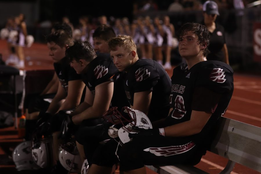 Look of Defeat. MSD players relish their last home game of the regular season while processing their first loss of the year. Photo by Jenna Harris