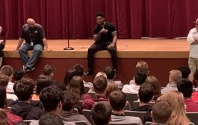 Leaders and Best. Flanagan High School and University of Michigan alum, and Pittsburgh Steelers Linebacker speaks to MSD football team and invited campus leaders.