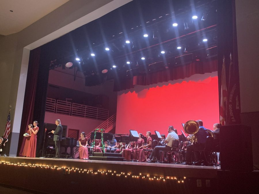 The auditorium was decorated for the holidays with lights and garlands. Photo by Delaney Walker