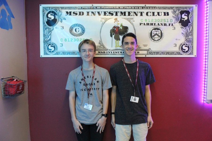 Juniors Drew Reisner and William Mitchell- winners of the Stock Market Game