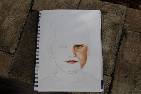 The beginning of Olivia Blaker's process for the art memory project. Photo by Ivy Lam