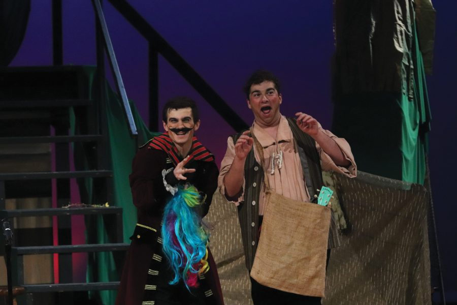 "A Pirate's Life. Seniors Jared Block and Ryan Senatore portray the characters of Smee and Black Stache on the opening night of MSD's production of ""Peter and the Starcatcher."" The pair made up the antagonist side of the musical. Photo by Sam Grizelj"