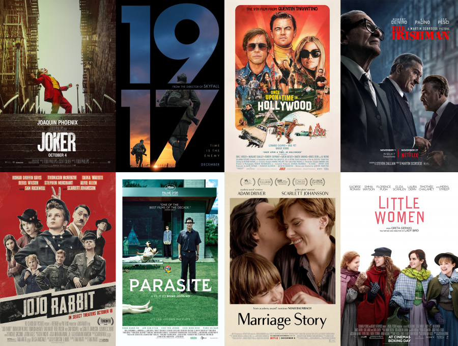 Collage of the 8 most nominated films of the year. Photo design by Travis Newbery