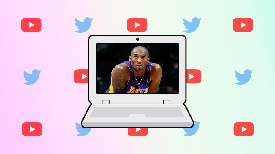 Kobe Bryant with a background of Twitter and YouTube logos