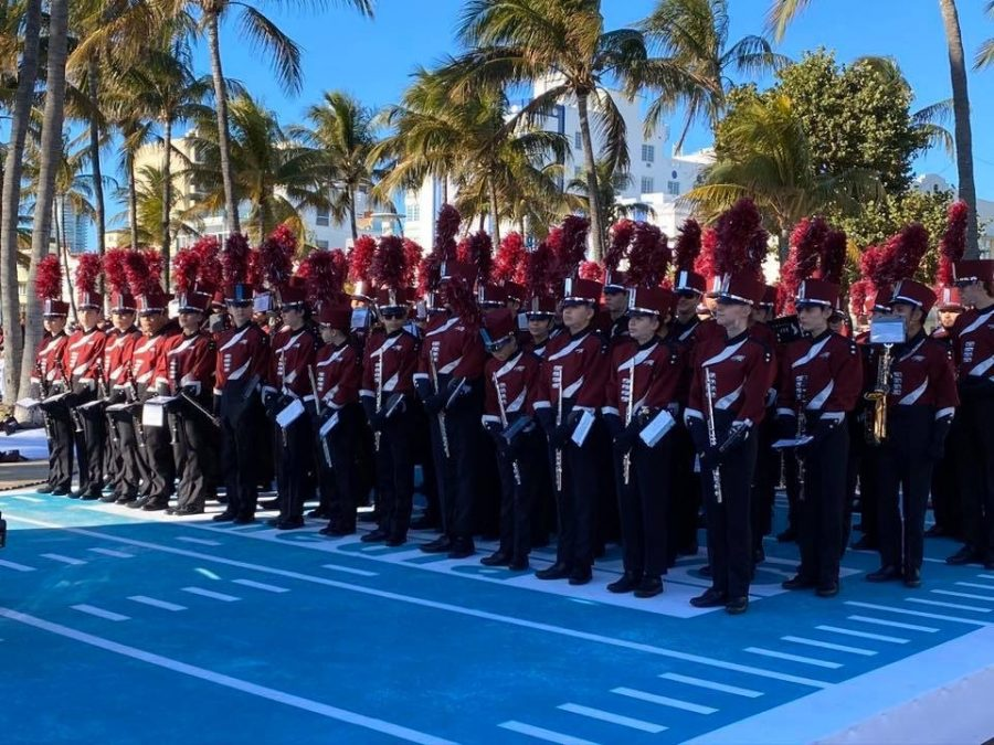 Eagle Regiment performs before the Super Bowl LIV.