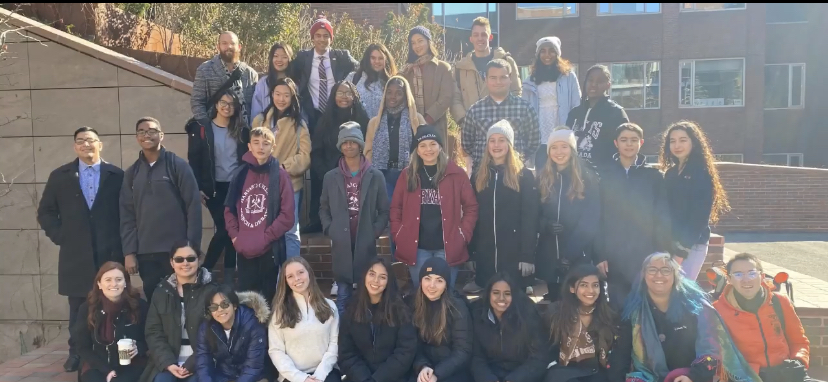 MSD students gather for a team photo at Harvard University. Photo courtesy of MSD Speech and Debate