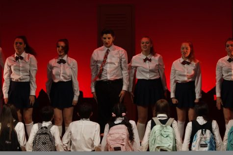 One of the scenes in the musical focused on the older pupils of the school portraying their rude, emotionless counterparts. Photo by Sam Grizelj