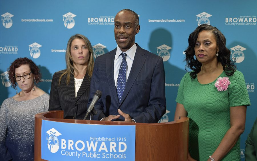 Broward School Board Superintendent Robert Runcie holds a press conference to discuss the school district's plans regarding travel regulations and other guidelines in response to the coronavirus or COVID-19, Thursday, March 12, 2020. Photo courtesy of Michael Laughlin/South Florida Sun Sentinel