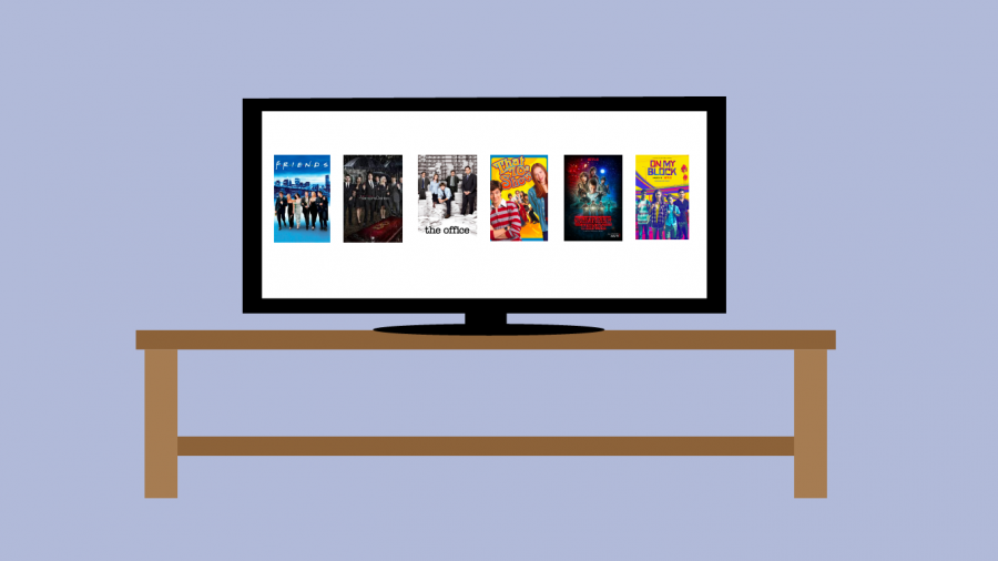 A television screen with different shows on it