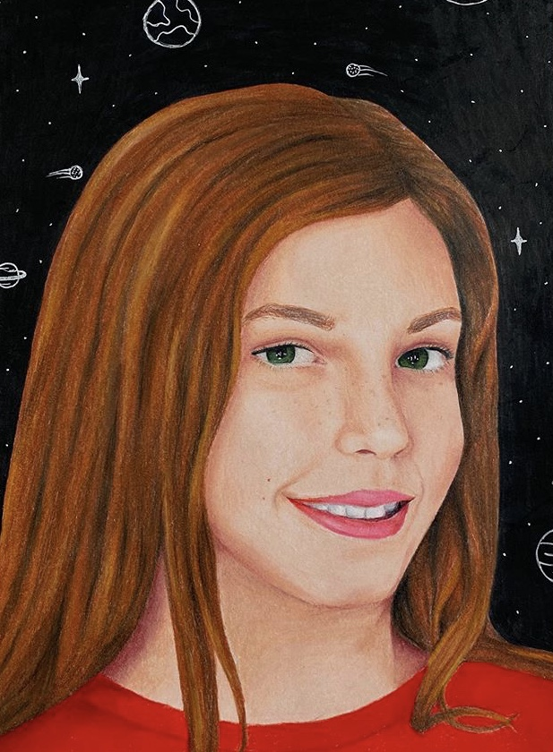 Junior Christine Yared was one of the participants in the memory project. She drew a portrait of a young girl from Russia. Photo courtesy of Christine Yared