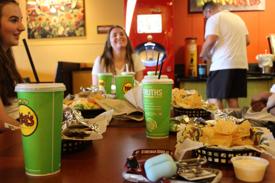Students eat lunch at Moe's on a Professional Study Day. Photo by Katrina White and Isabella White