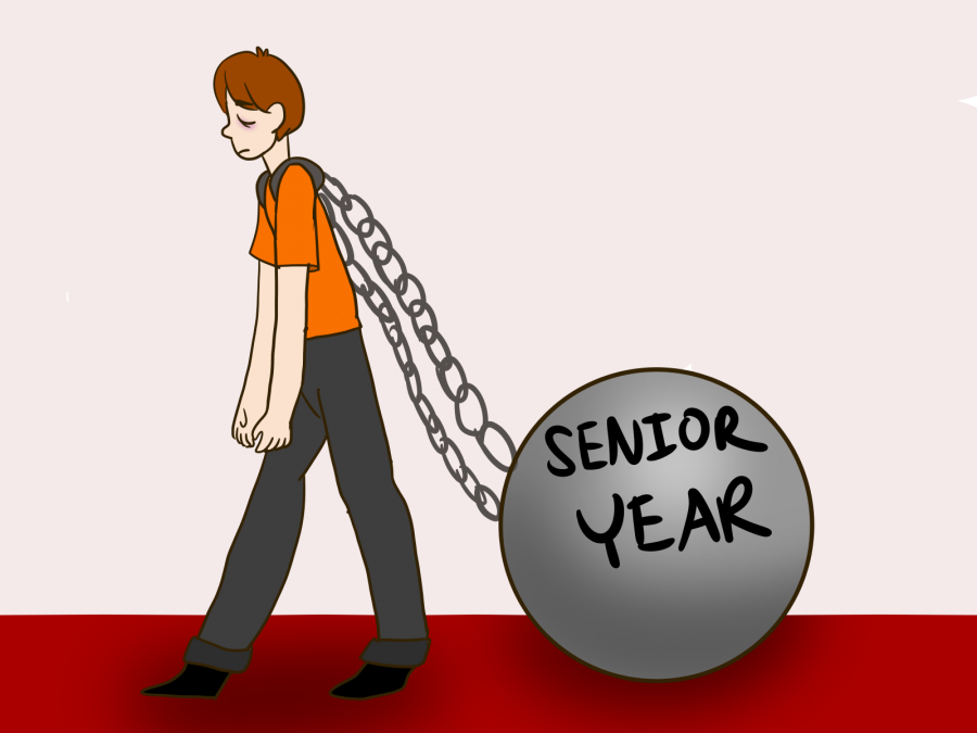 Seniors+are+weighed+down+by+Senioritis.+Graphic+by+Leah+Ronkin