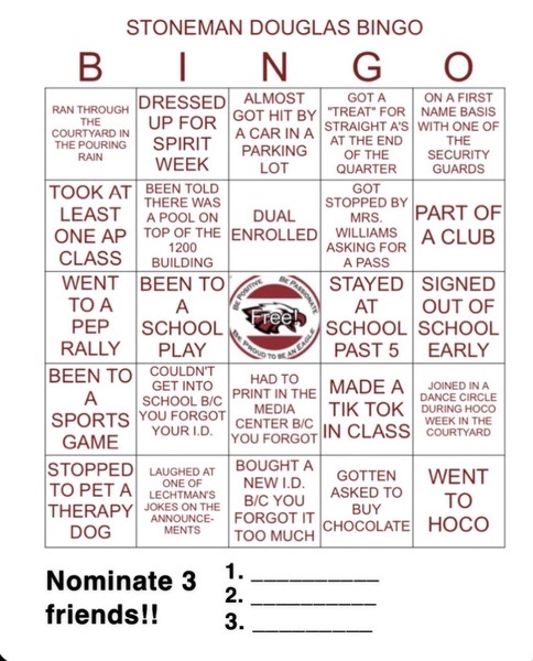 MSD Student Government Association has created a bingo card for their students to complete. Photo curtesy of MSD SGA