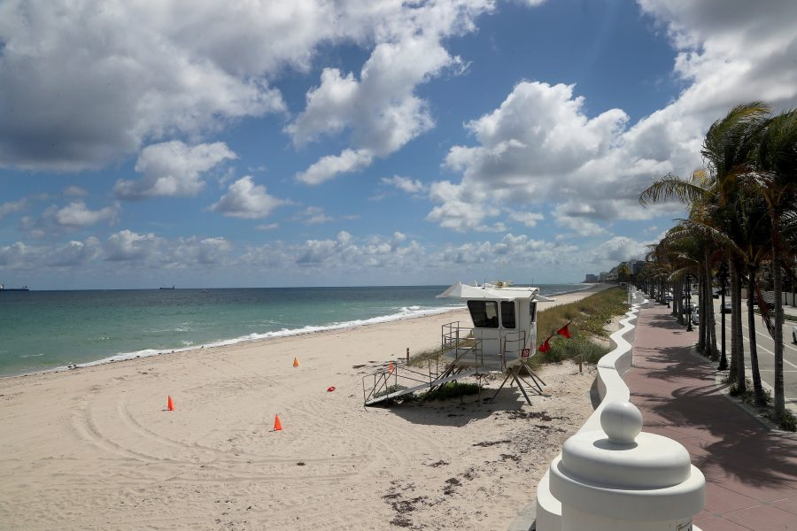 Beaches are shut down and nearly empty in Fort Lauderdale on Wednesday, March 18, 2020 due to the coronavirus outbreak.