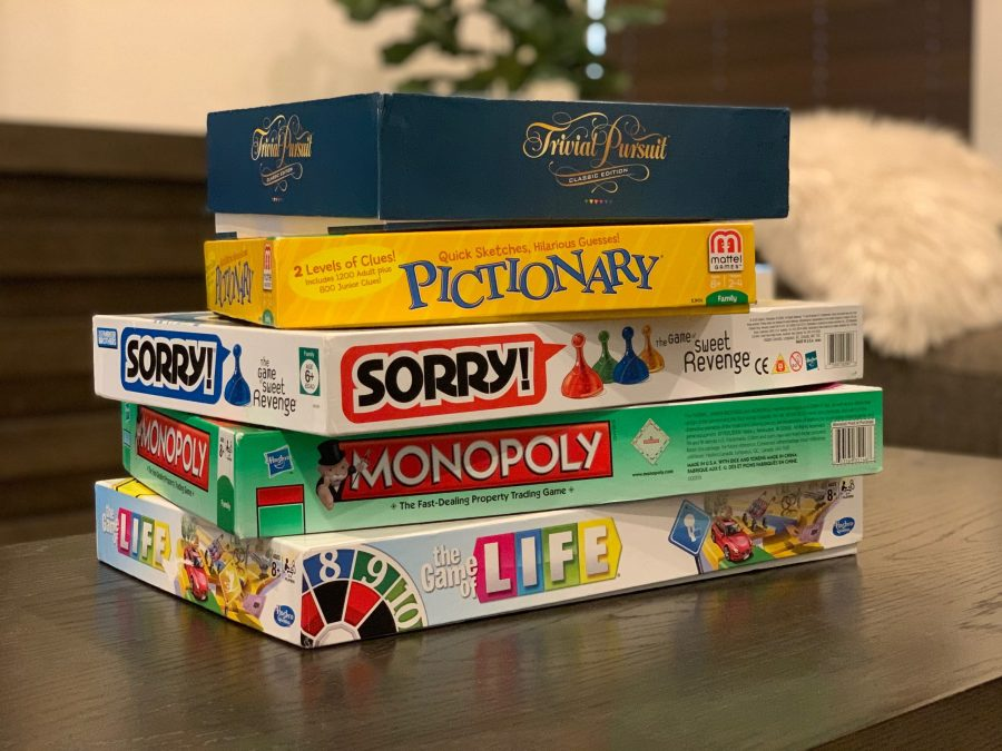 While in quarantine, there are a variety of board games to play. Photo by Sophia Squiccirini