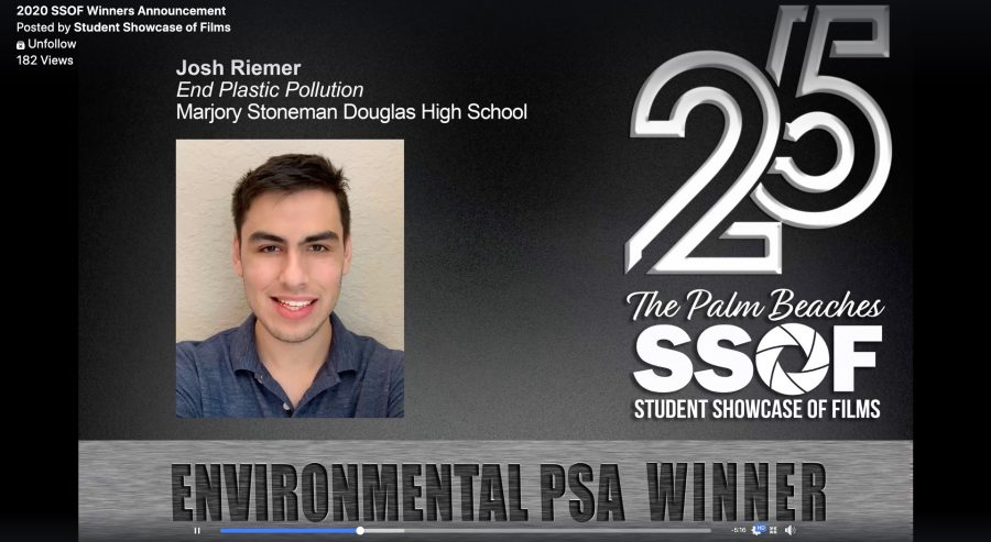 Senior Josh Riemer received the Environmental PSA at the 25th Annual Palm Beaches Student Showcase of Films for his video,