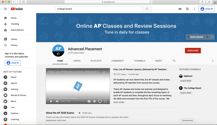 The official YouTube channel of Advanced Placement offering students video reviews for any AP class.