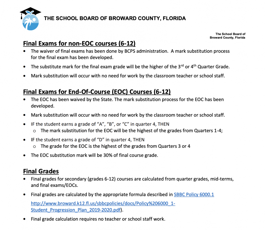 Broward County Public Schools waives finals and Florida Department of Education cancels end-of-course exams