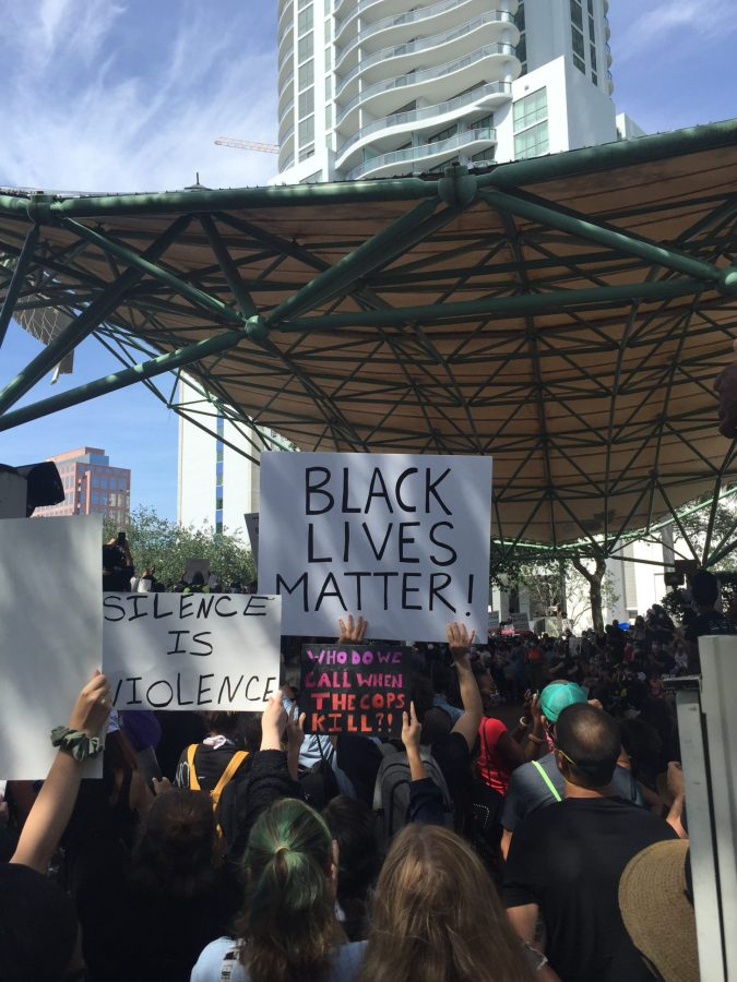 Protesters gather to protest against police brutality, supporting the Black Lives Matter Movement, in Fort Lauderdale, Florida. Photo by Anna Bayuk
