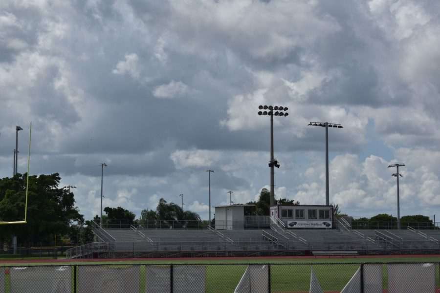 Cumber Stadium sits empty, with the decision to play football yet to be put Into action. Photo by Isabelly Silveira
