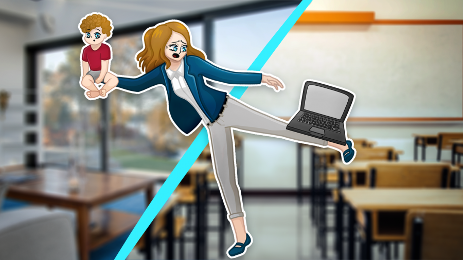Graphic of teacher with a computer on her leg and a baby in her arms with a half home and half school setting as the background.