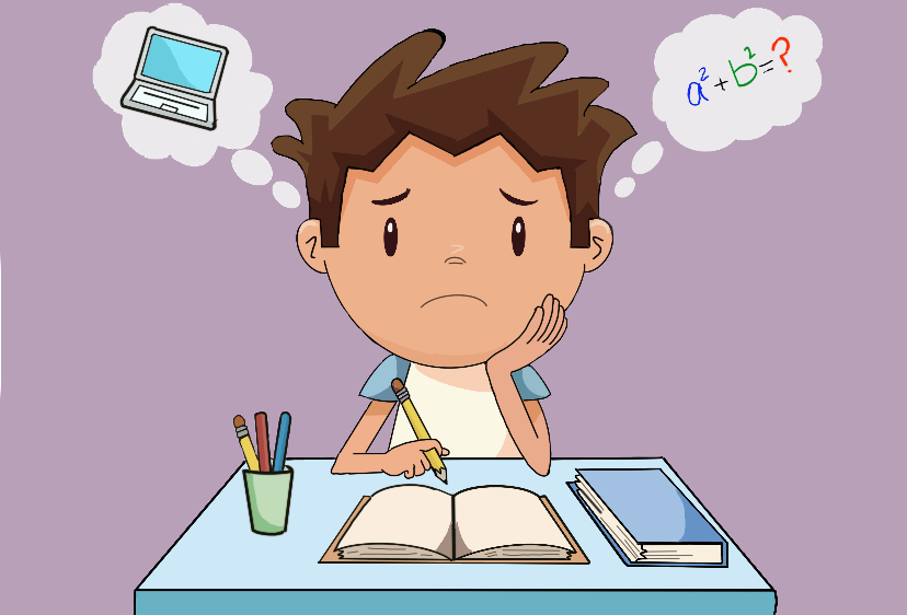 A student is overwhelmed with the thought of both using the computer and his school work.